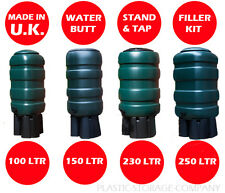 NEW WATER BUTT - BARREL DESIGN - RAINWATER - GARDEN - 4 SIZES - COMPLETE KIT !!