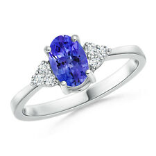 Solitaire Oval Natural Tanzanite Diamond Promise Ring 14k White Gold/Platinum
