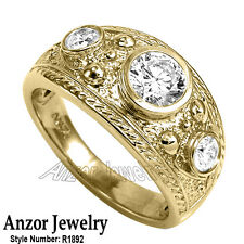 Men's Genuine Diamond Ring 14k Solid Yellow Gold Ring 12.30gr US  #R1892