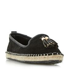 Dune Ladies GROVE Tassel Trim Slip On Espadrille Shoe in Black