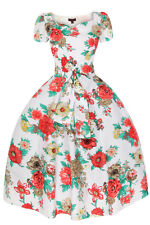 1950's Vintage Style White Floral Swing Dress Size 12 14 16 18