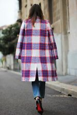 ZARA tartan checked plaid coat wool blend studio blue red sold out bloggers M