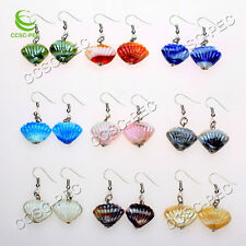 FREE wholesale Lots Shell-Shape Lampwork Glass bead Silver Tone earrings