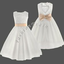 Communion Party Prom Princess Pageant Bridesmaid Wedding Flower Girls Dress 2-12