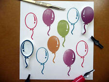 Balloon Rubber Stamps, Hand Carved, Party Print Design