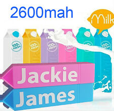 2600mAh Personalized Milk Power Bank External Backup Battery Portable Charger