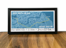 Great North Run 2016 Framed and Personalised Map - Gift for Dad, Brother, Runner