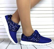 Womens Blue Lace Up Sequin Sparkly Fashion Trainers Sneakers Gym Pumps Shoes 3-8