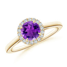 Cathedral Round Amethyst and Diamond Halo Ring 14K Yellow Gold