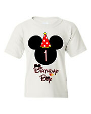 Birthday Boy Kids T-shirt. Mickey Mouse birthday shirt customized with any age.