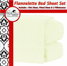 IVORY CREAM QUEEN KING Size EGYPTIAN COTTON FLANNELETTE FLANNEL BED SHEET SET