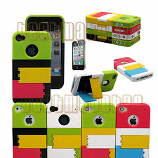 for iphone 4 4g 4s phone case hard slid in w/ kick stand plus protector film \
