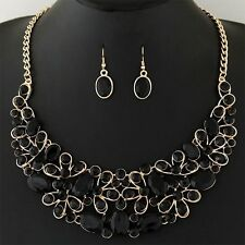 Women Fashion Rhinestone Crystal Choker Necklace & Pendant Jewelry Set