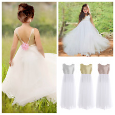 Girls Sequined Sleeveless Flower Princess Pageant Wedding Bridesmaid Party Dress