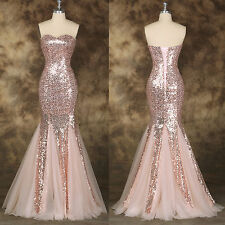 Sequined Mermaid Wedding Bridesmaid Prom Dress Formal Evening Ball Gown US 2-16