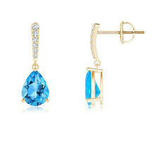 Solitaire Pear Blue Topaz Drop Earrings with Linear Diamond 14K Yellow Gold