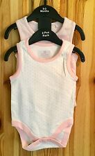 New Baby Girls Exstore Next 2 Pack Pink Sleeveless Vests Sizes 0-9 Months