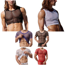 US Men's Muscle Comfy Mesh sheer See Through T-Shirt Tank Top Singlet Underwear