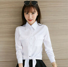 Fashion Women's Casual Long Sleeves Bandage Shirts Lady Sexy White Blouse Tops