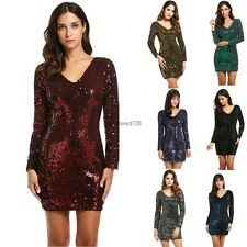 Women's V-Neck Long Sleeve Sequined Cocktail Bodycon club party Mini Dress GS8D