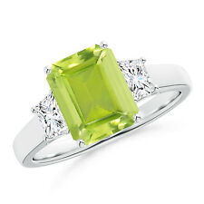 Emerald-Cut Peridot Diamond Three Stone Ring in 14k Gold/ Platinum Size 3-13