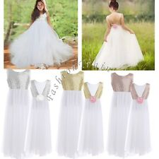 Flower Girl Sequin Kids Backless Wedding Birthday Party Princess Tulle Kid Dress