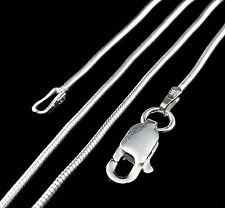 1MM Solid 925 Sterling Silver Italian ROUND SNAKE Chain Necklace Made in Italy