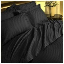 1200 TC Soft Egyptian Cotton Complete Bedding Items All UK Size Black Striped