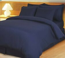 1200TC Soft Egyptian Cotton Complete Bedding Items All UK Size Navy Blue Striped