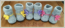 Hand Knitted / Crochet Baby Girl Grey Slouchy Boots / Booties / Pram Shoes