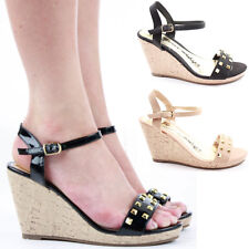 Ladies Medium Mid High Heel Wedges Platform Strappy Sandals Shoes Size