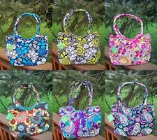 VERA BRADLEY Pleated Shoulder Bag Purse Blue Bayou Citron Heather Petal Paisley