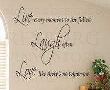 Wall Sticker Decal Quote Vinyl Lettering Adhesive Graphic Live Laugh Love I88