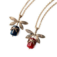 Dragonfly Pendant Necklace Long Sweater Chain Women Retro Gold Color Alloy