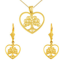 14k Yellow Gold Tree of Life Open Heart Filigree Necklace & Matching Earring Set