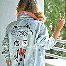 ZARA Woman BNWT Blue Cotton Denim Jacket With Graffiti Faux Fur Collar 6045/247