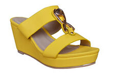 Ciara Remi Buckle Two Strap Slip On Wedge Women Yellow sandals