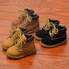 Boys Girls Winter Warm Casual Boots Non-Slip Laces Shoes Kids Baby Toddler