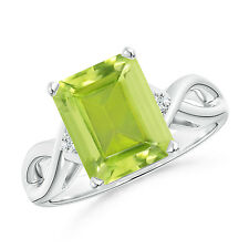 Natural Emerald Cut Peridot Solitaire Ring in 14k White Gold/ Platinum Size 3-13