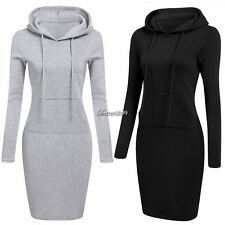 Women Casual Dress Long Sleeve Hoodie Hooded Jumper Pockets Sweater Tops New SY4