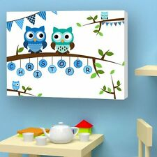 Personalised CHRISTENING BABY CANVAS. Perfect Gift With BABY NAME and Owls