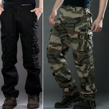 Combat Mens Cotton Cargo Pants Work Camouflage ARMY Green Black Camo Trousers
