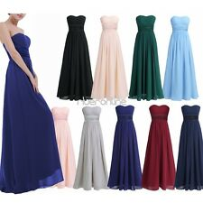 Womens Long Chiffon Formal Evening Party Ball Gown Prom Bridesmaid Wedding Dress