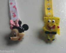 Personalised Minnie Mouse or Sponge Bob Dummy / Pacifier Soother Strap Clip NEW
