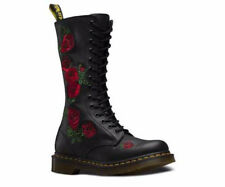 Dr Martens Vonda Black Leather Rose Embroidered Boot 14eye 12761001 rrp £150
