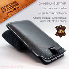 Genuine Leather Luxury Pull Tab Flip Pouch Sleeve Phone Case Cover✔Plum Phones