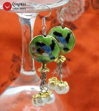 18mm Round Green Cloisonne & White Natural Pearl Dangle Earrings for Women-527