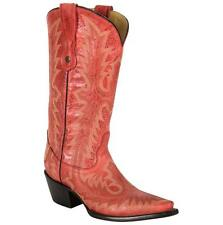 CORRAL Womens Red Picasso Snip Toe Embroidery Distressed Western Boots G1910 NIB