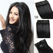 100% Real Human Hair Full Head 7pcs/set Clip in Hair Extensions #1 Jet Black