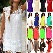 Womens Boho Chiffon Mini Dress Summer Holiday Beach Casual Sun Dress Size S -3XL